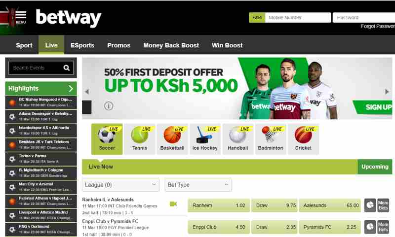Live betting on Betway